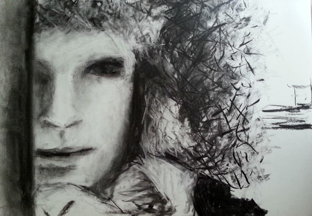 charcoal portrait from a photo of me i took last winter looking like an eskimo